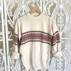 Vintage fair isle sweater 1970 white red